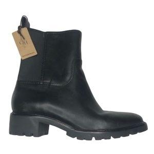 COLE HAAN Black Waterproof Leather Booties